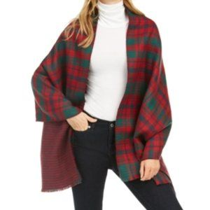 NWT Charter Club Reversible Houndstooth Plaid Wrap